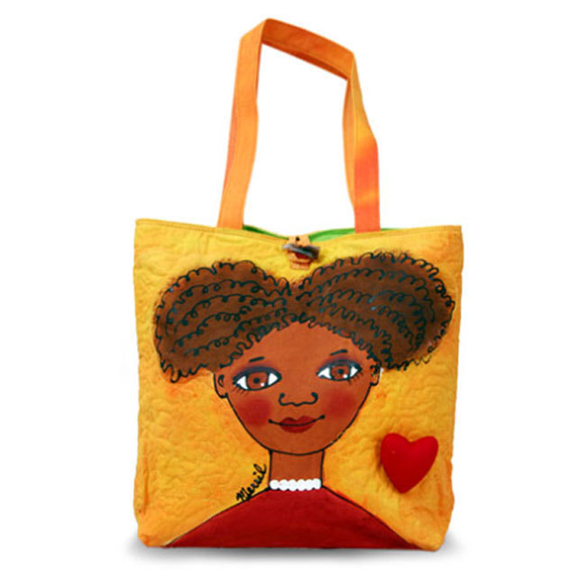BrightFaces Frizzy Painted Large Cotton Canvas Fashion Tote Bag