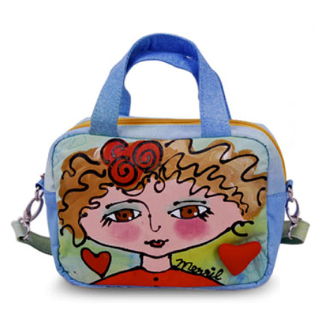 BrightFaces Blond Girl Painted Cotton Canvas Small Shoulder Tote Bag