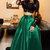 Sexy Black Lace Crop Top Two-Piece Prom Dresses,Long Sleeve Satin Prom Dress