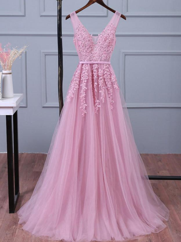 Baby Pink V-neck Tulle Prom Dresses with Appliques Party Dresses