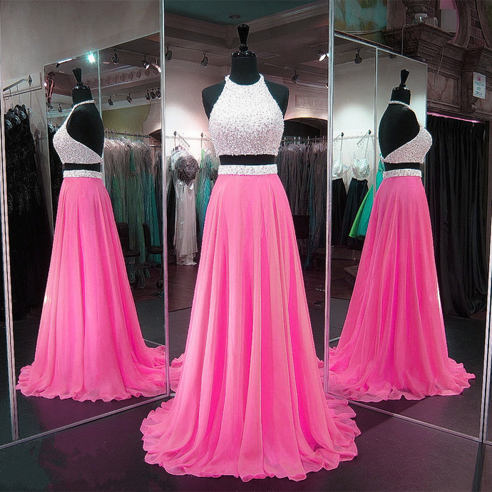 Open Back Prom Dress,Two Piece Graduation Dress,Beaded Party Dress,Two Piece