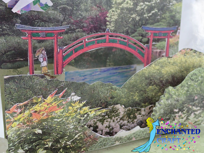 Pop-up Garden of flowers and Japanese Bridge Card handmade- choose thank you,