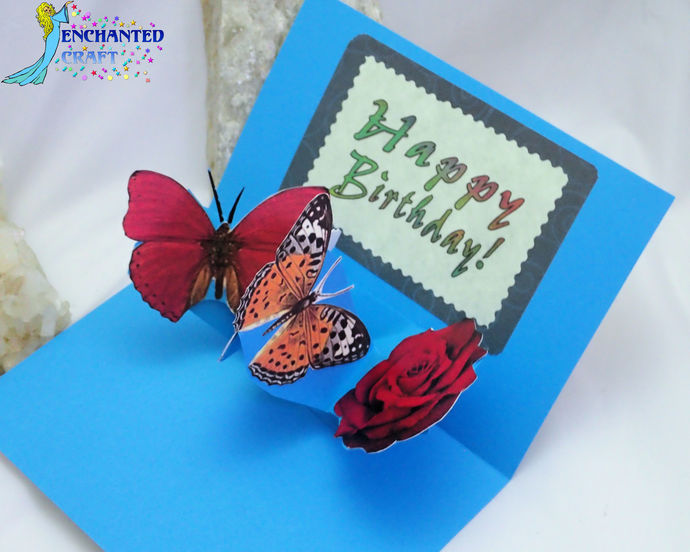 Pop-up Roses & Butterflies Happy Birthday Card handmade