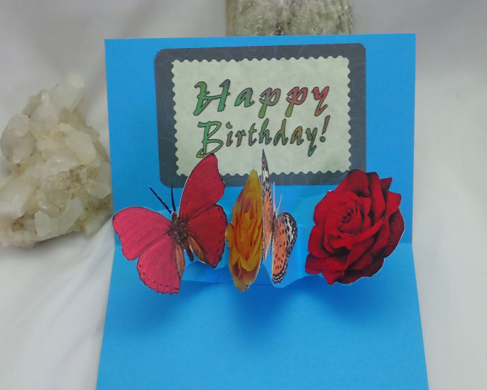 Pop-up Roses & Butterflies Happy Birthday Card handmade