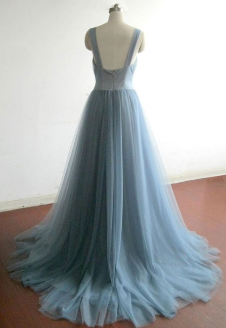 Charming Prom Dress,Tulle Prom Gown,V-Neck Prom Dress,A-Line Prom Gown 814