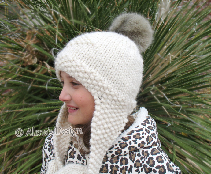 631f41b3959 Knitting Pattern 201 Knitted Earflap Hat Faux Fur Pompom Winter Cream Hat  Boy