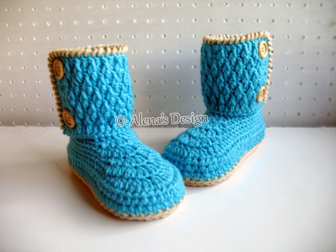 Crochet Pattern 114 - Two-Button Children's Boots - Crochet Boot Pattern - Boot