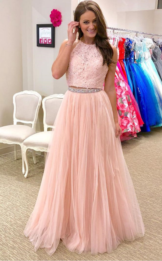 Charming 2 Piece Applique Tulle Long Prom Dress,Beaded Prom Dress,A Line  Prom Dress,Floor Length Prom Dress Plus Size,Blush Prom Dress,Eveni
