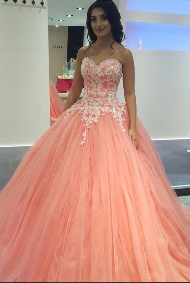 Peach Lace Appliques Ball Gowns Prom by prom dresses on Zibbet
