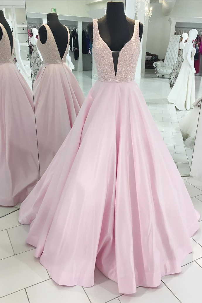 Decent A-Line Deep V-Neck Sleeveless Open Back Pink Satin Long Prom/Evening