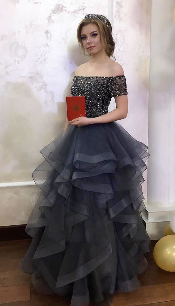 grey long prom dress Quinceanera Dresses, off by Dress Storm on Zibbet