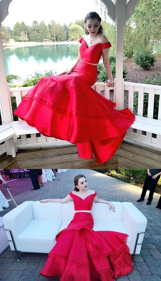 Two Piece Prom Dress, Mermaid Long Prom Dress, Formal Evening Dress,Sexy Evening