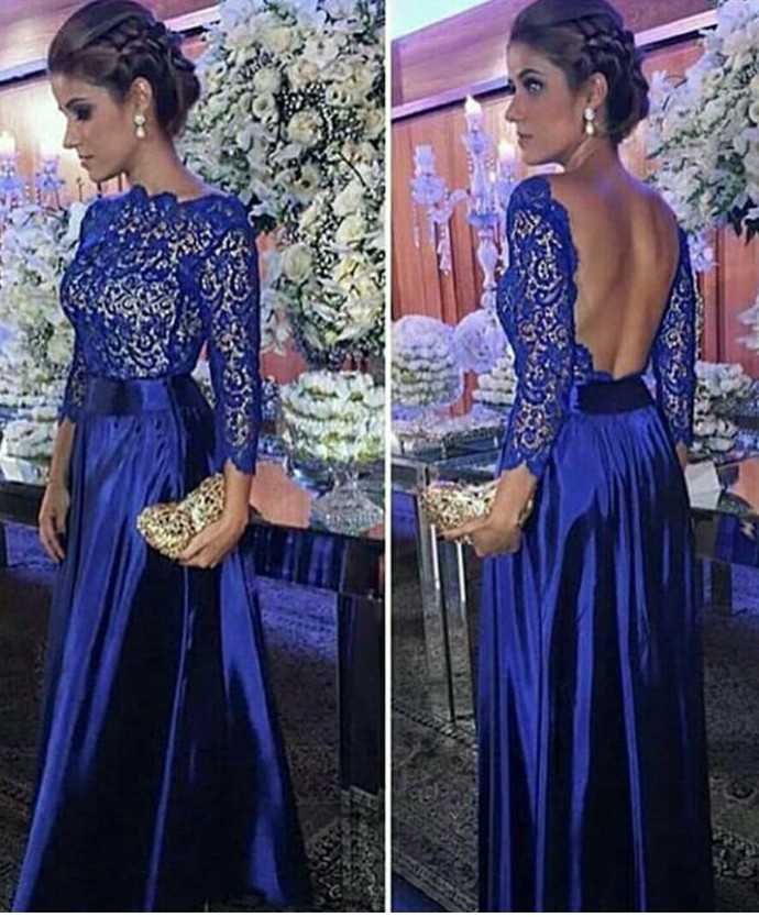 Backless Royal Blue Prom Dress,Long Sleeve Prom Dress with Open Back,Sexy