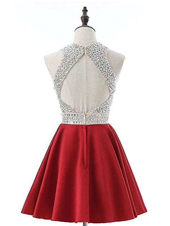 A-line Silver Beaded Top Red Satin Halter Homecoming Dresses