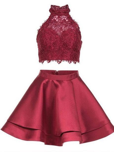 Princess Halter 2 Piece Homecoming Dresses,Mini Short Prom Dresses