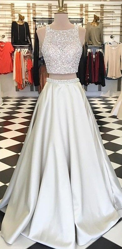 Beaded Long Prom Dress,Two Piece Prom Dresses,Elegant Prom Dress