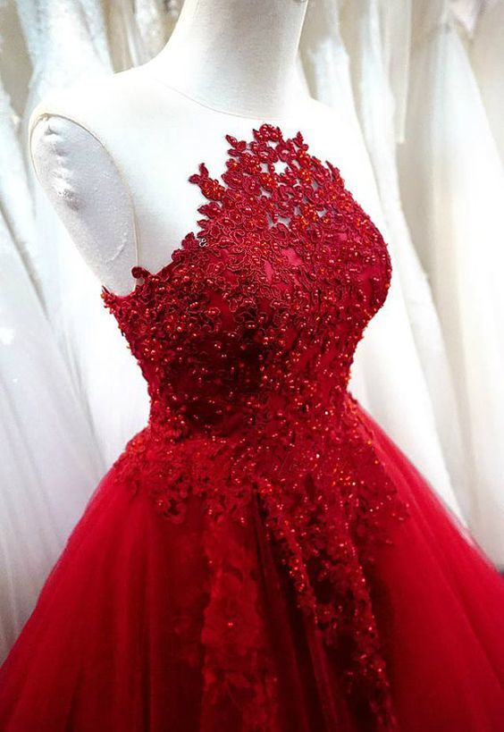 Charming Prom Dress,Sexy Prom Dress,Red A Line Prom Dress,Tulle Evening Dress