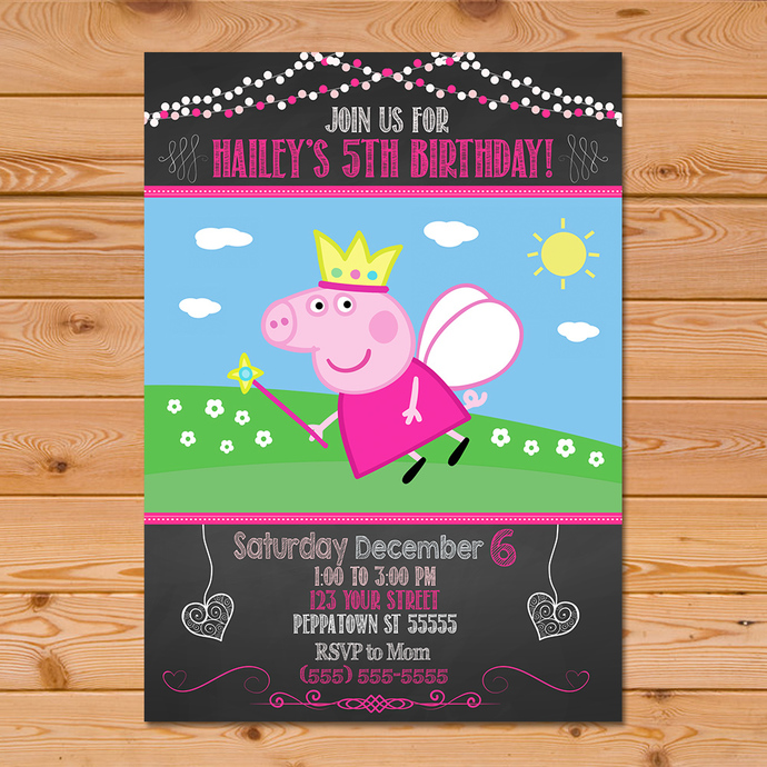 Fairy Peppa Pig Invitation Chalkboard By Partyprintables37 On Zibbet