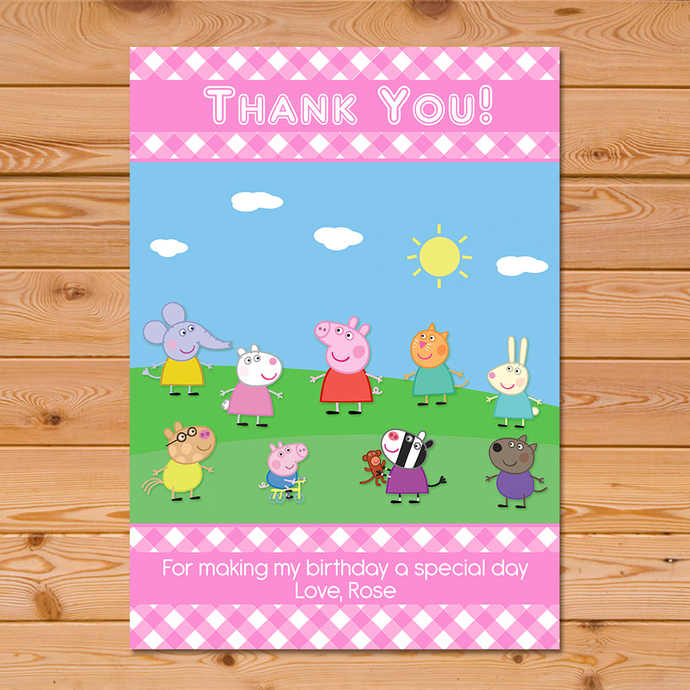Peppa Pig Thank You Card Pink Checkered By Partyprintables37 On Zibbet