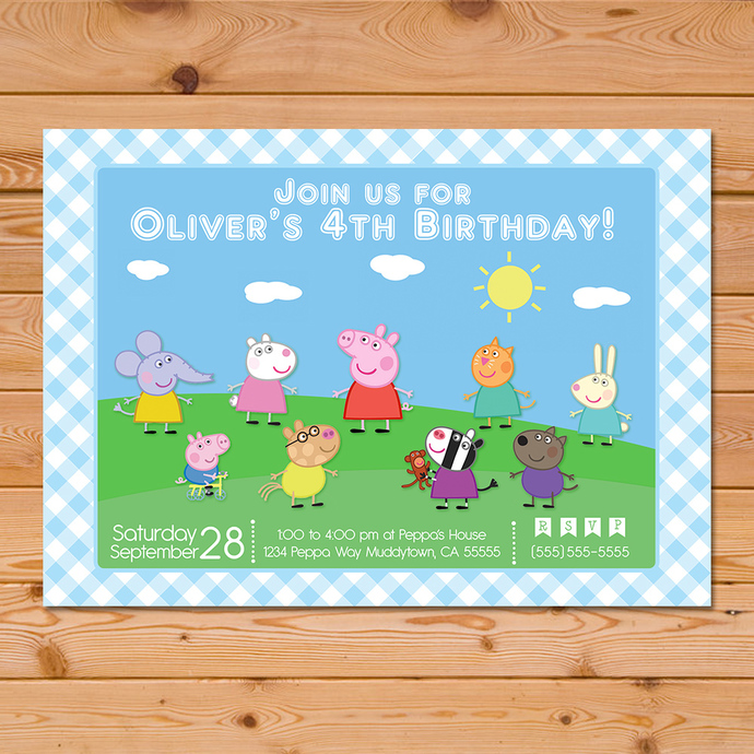 Peppa Pig Invitation Blue Checkered By Partyprintables37 On Zibbet