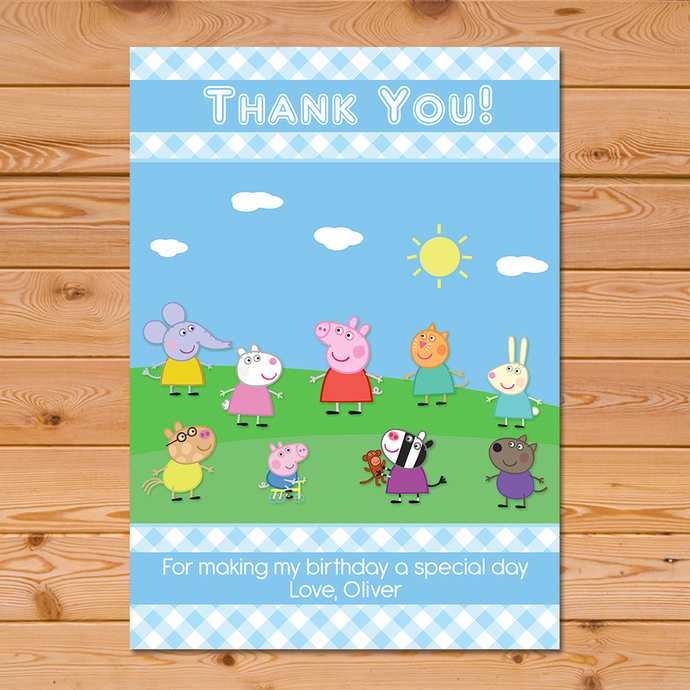 Peppa Pig Thank You Card Blue Checkered By Partyprintables37 On Zibbet
