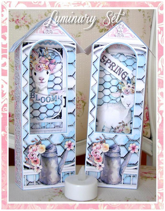 Spring Lamb Luminary Set for Battery Operated Votive Candle - Digital Printable