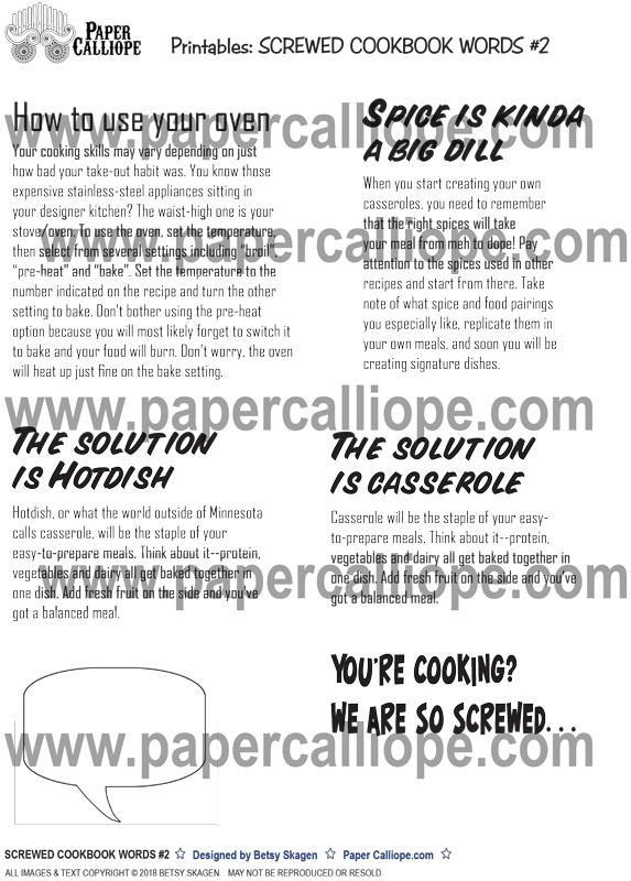 SCREWED COOKBOOK WORDS #2