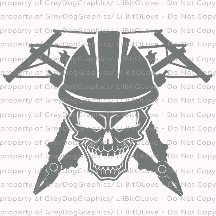 Lineman Skull Linemen Vinyl Decal Sticker Electrician Electricity Electric