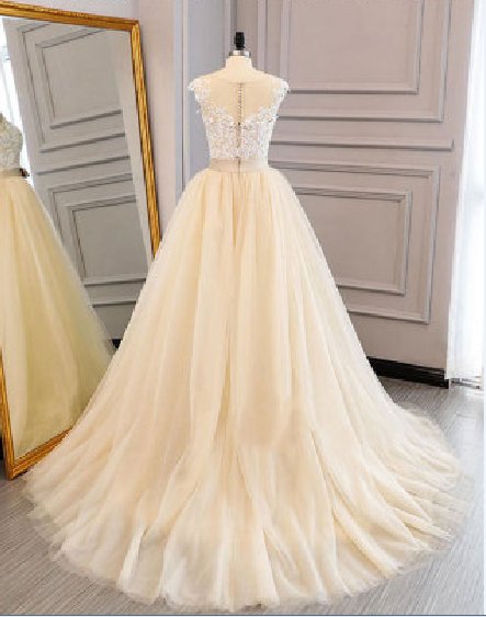 Charming Prom Dress,Tulle Prom Gown,Appliques Prom Dress,A-Line Prom Gown 817