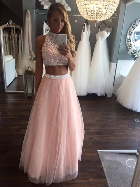 Pink 2 Piece Prom Dresses Long Beaded Girls by prom dresses on Zibbet