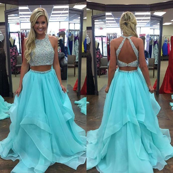 ice blue prom dress,two piece prom dress,ruffles prom dress,ball gowns prom