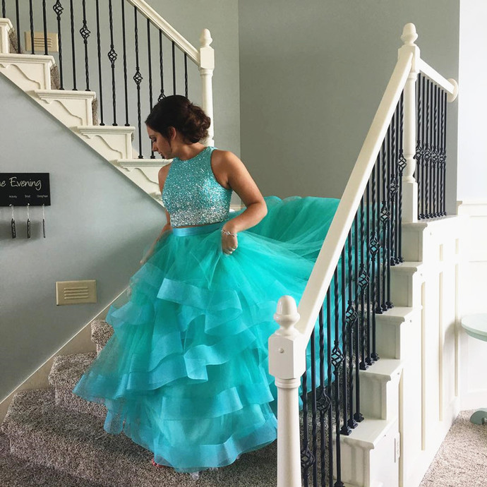 ombre dress,two piece prom dress,ball gowns prom dresses,Cinderella Dress