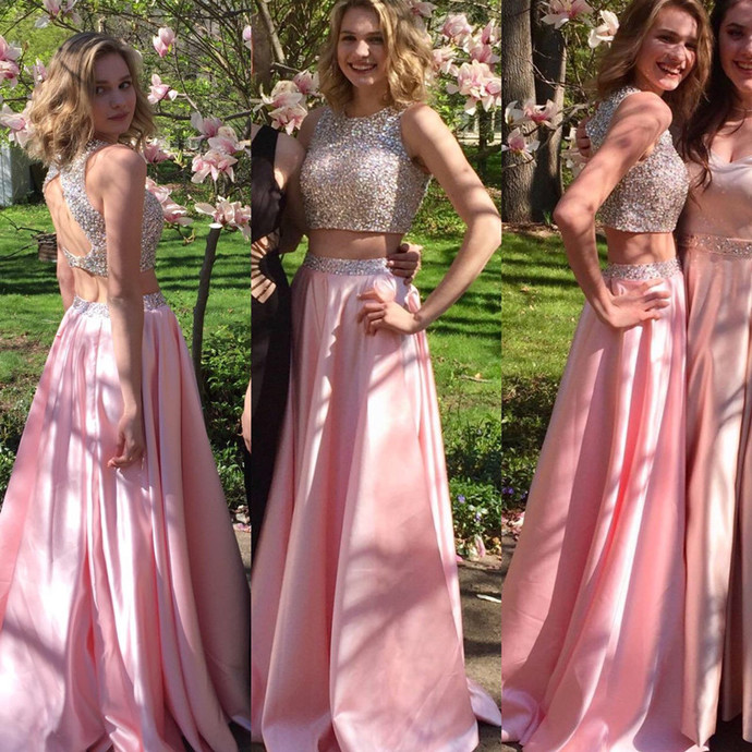 pink prom dress,two piece prom dress,sequins beaded dress,keyhole back