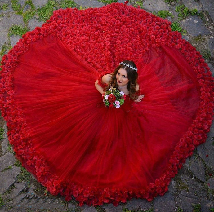 Red Ball Gowns Bridal Dresses,Flowers by prom dresses on Zibbet