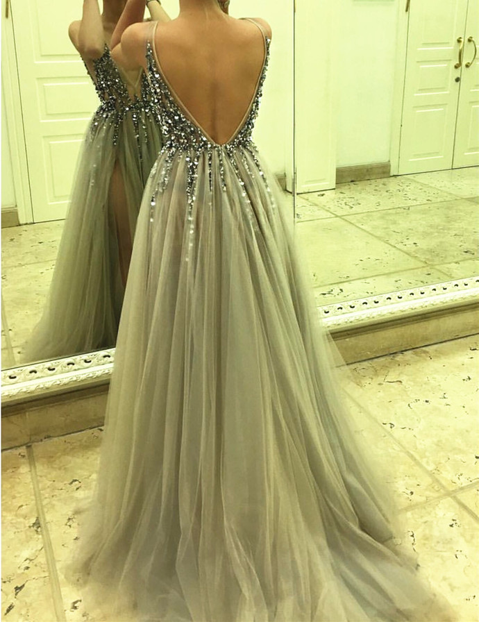 open back evening dress,tulle prom dress, v neck prom dress,sexy long formal