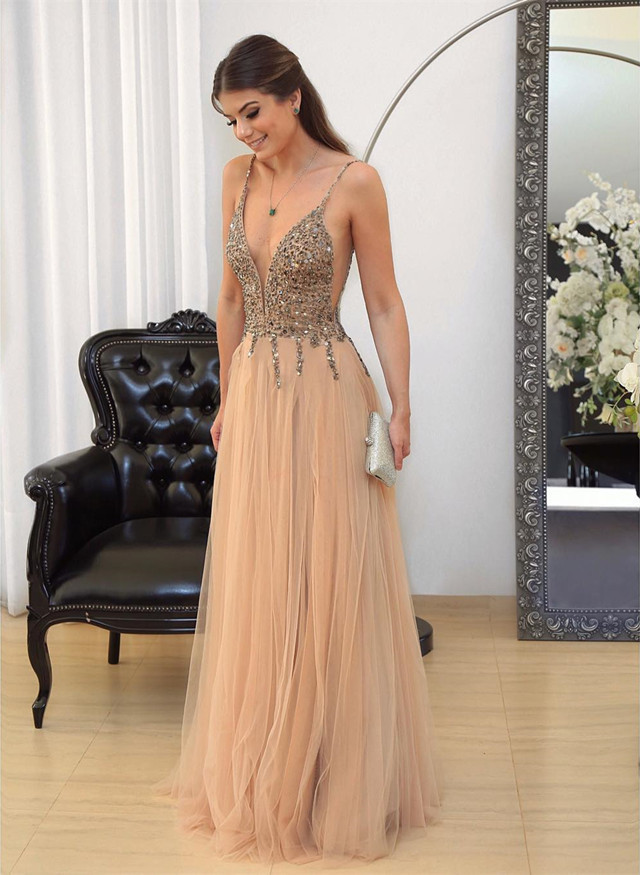 champagne prom dress, v neck evening gowns,tulle prom dress,sequins beaded prom
