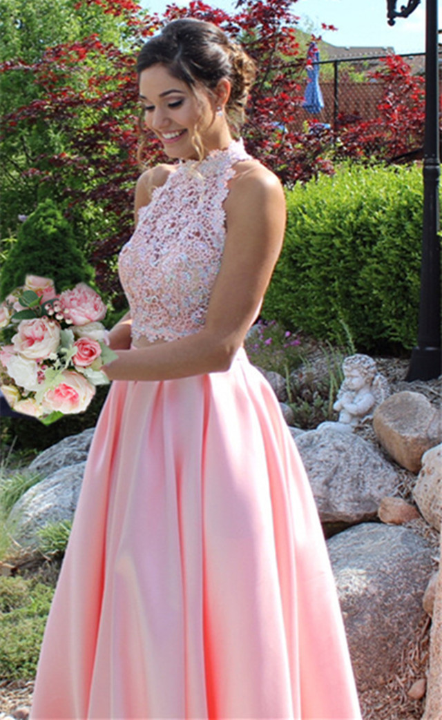 pink prom dresses,two piece prom dress, 2 piece prom dress,long prom gowns