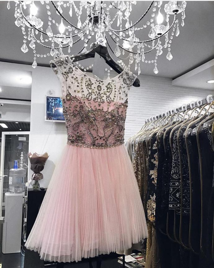 Pink Homecoming Dress,Prom Short Dresses Crystal Beaded,Cap Sleeves Homecoming