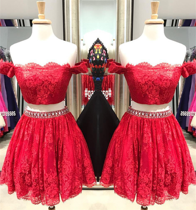 Two Piece Homecoming Dress,Lace Homecoming Dress,Red Prom Dress,Short Cocktail
