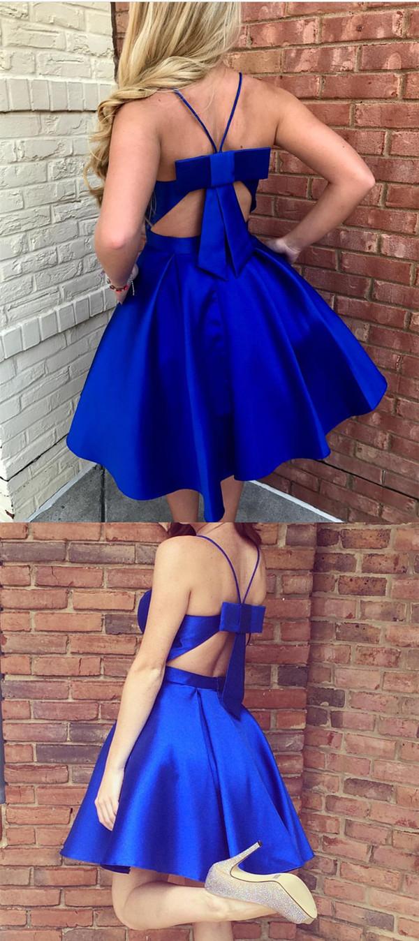 Royal Blue Homecoming Dresses,Bow Back Cocktail Dress,Short V Neck Prom Dresses