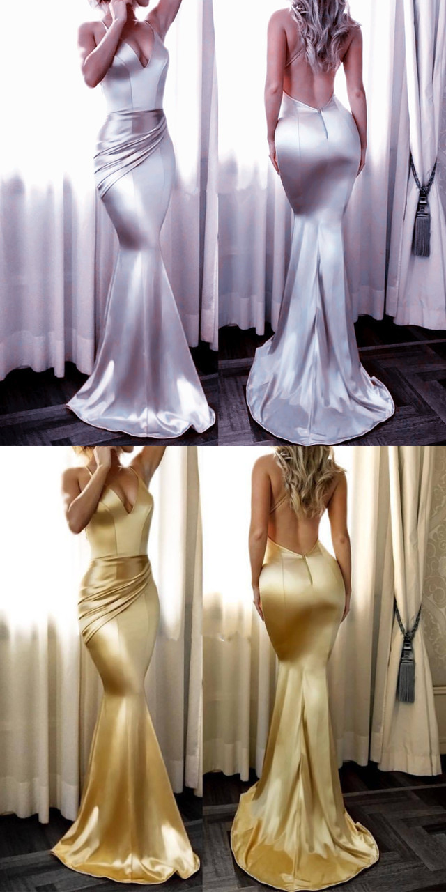 Satin Gowns,Backless Mermaid Dress,Sexy Mermaid Prom Dress,Long Evening Gowns