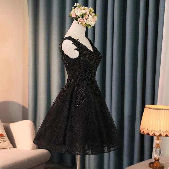 Back to school dress,black homecoming dress,short prom dress lace