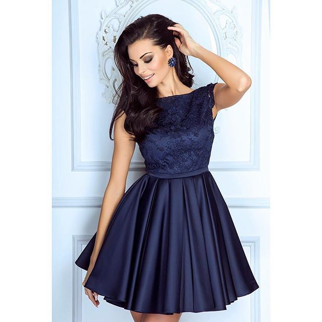 Navy Blue Cocktail Dressshort Lace Cap Sleeves Homecoming Dressesbackless Bridesmaid Dresses