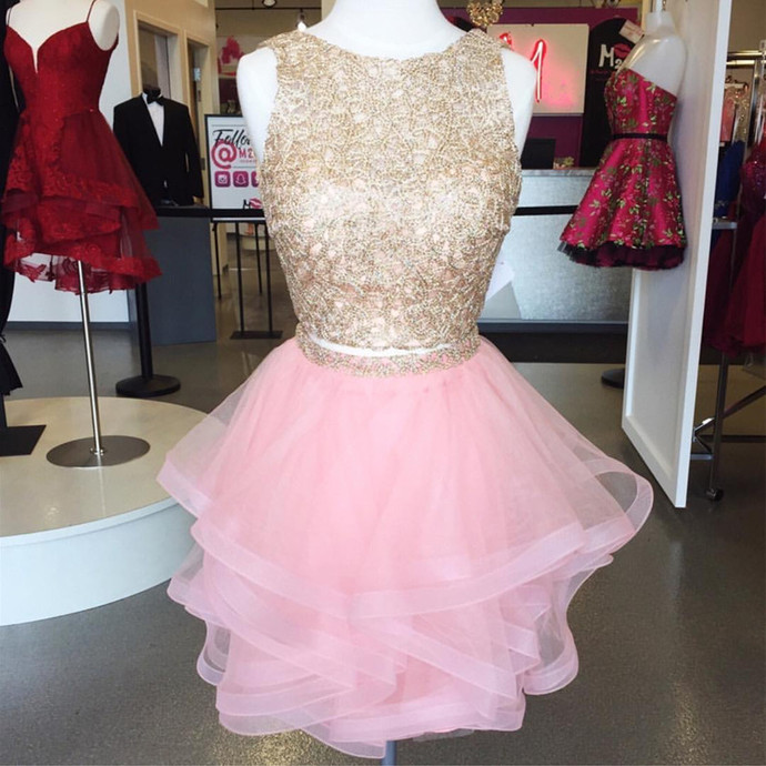 two piece homecoming dresses,ruffle homecoming dresses,short prom dress,semi