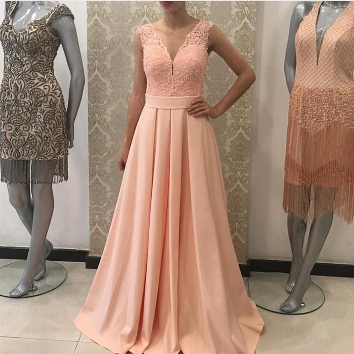 v neck prom dress,satin evening gowns,long bridesmaid dresses lace appliques