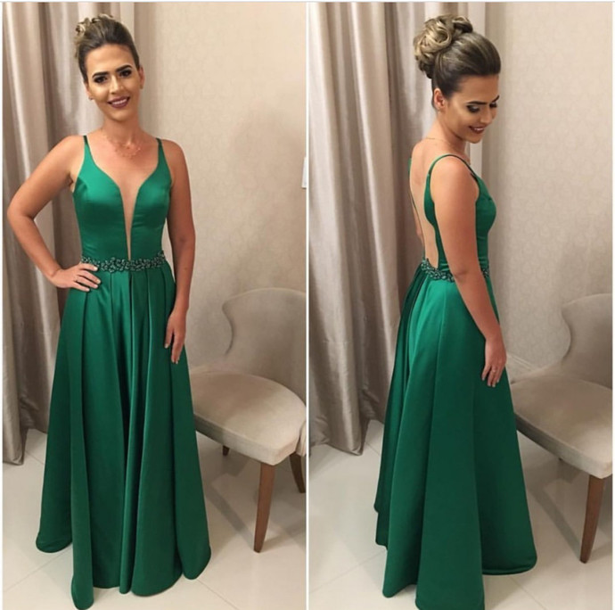 Hunter Green Bridesmaid Dresses,Long Formal Dress,V Neck Prom Dresses,Long
