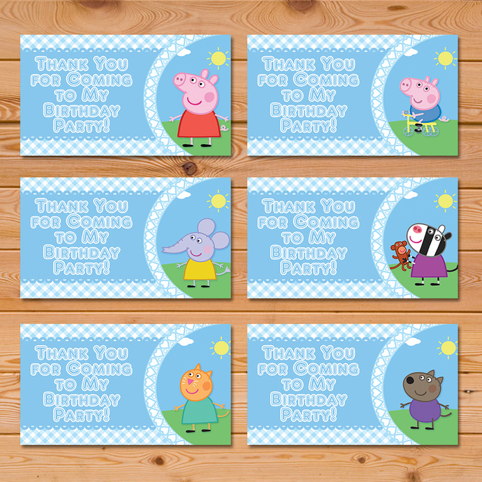 Peppa Pig Party Tags Blue Checkered * Peppa Pig Favor Tags * Peppa Pig Party