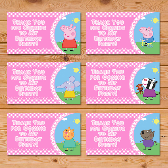 Peppa Pig Party Tags Pink Checkered * Peppa Pig Favor Tags * Peppa Pig Party