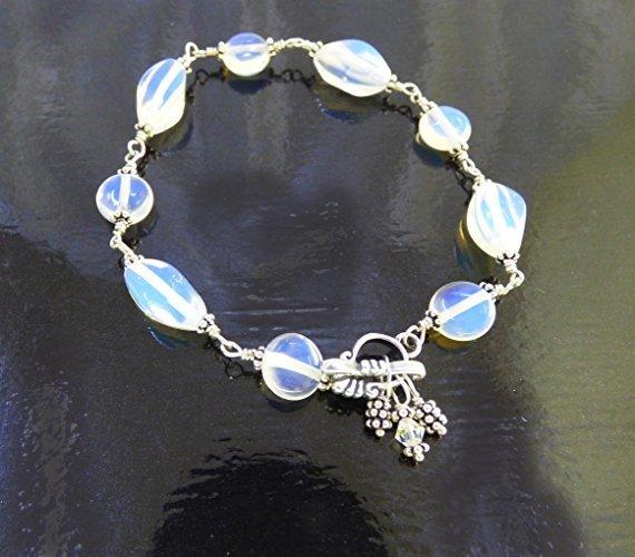 Sparkling Sterling Silver Opalite Ankle Bracelet