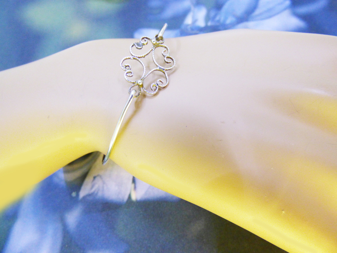 Goddess Dreams Lace Filigree Sterling Silver Bangle Bracelet